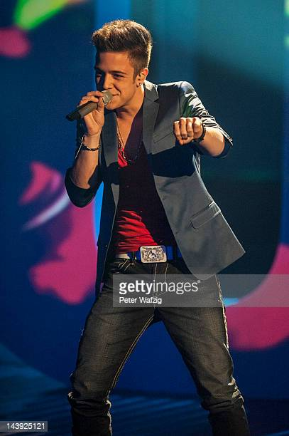 The 2012 winner of 'Deutschland Sucht Den Superstar' Luca Haenni performs during DSDS Kids 1st Show at Coloneum on May 05 2012 in Cologne Germany