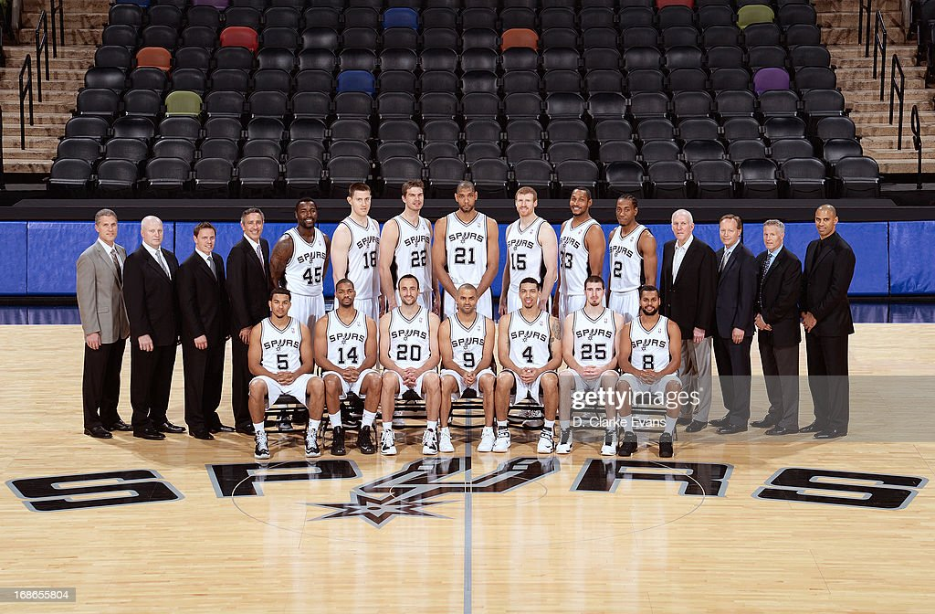 The 2012-2013 San Antonio Spurs pose for the team photograph on May 13, 2013 at the AT&T Center in San Antonio, Texas.