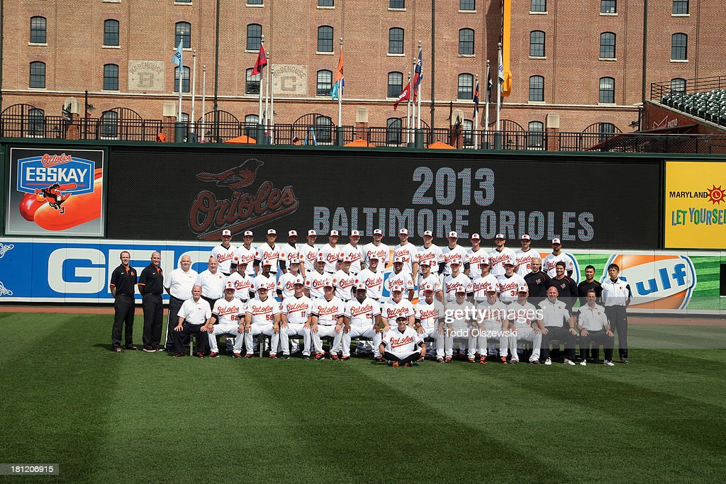 The 2013 Baltimore Orioles pose for their team photo at Oriole Park at Camden Yards on August 21, 2013 in Baltimore, Maryland.
