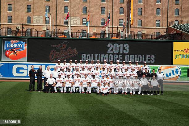 The 2013 Baltimore Orioles pose for their team photo at Oriole Park at Camden Yards on August 21 2013 in Baltimore Maryland