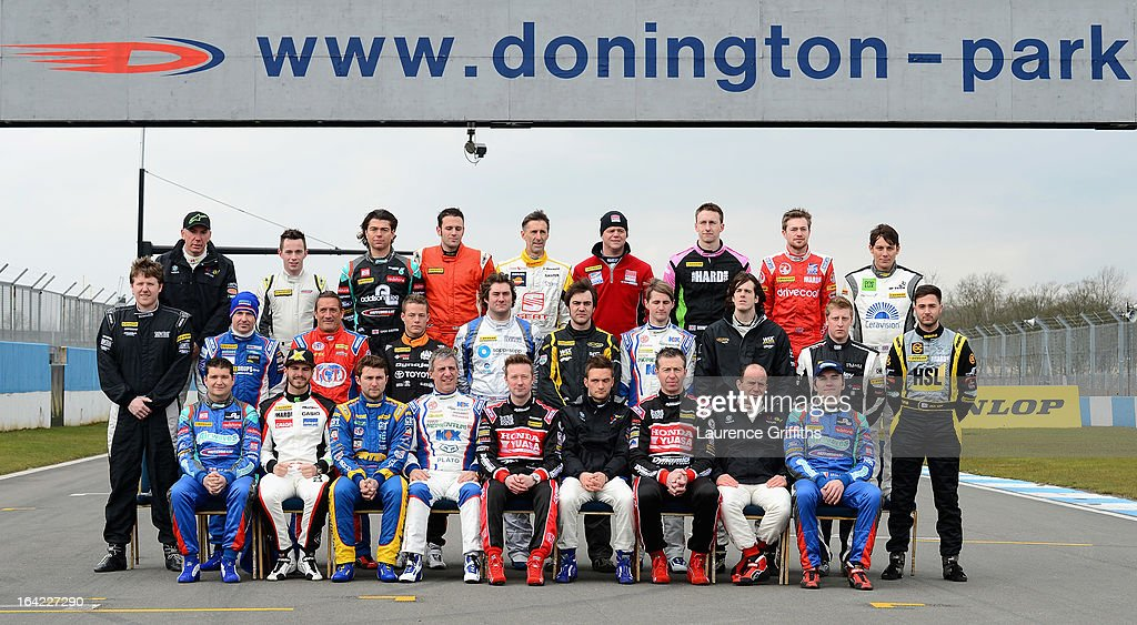 The 2013 British Touring Car Championship Drivers pose for a team group during the BTCC Media Day at Donington Park on March 21, 2013 in Castle Donington, England.