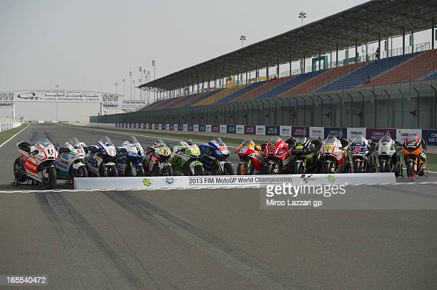 The 2013 MotoGP bikes are presented on the track for photographers during the MotoGp of Qatar Previews at Losail Circuit on April 4 2013 in Doha Qatar