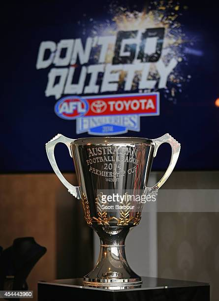 The 2014 AFL Premiership Cup on display during the AFL Premiership Cup handover on September 1 2014 in Melbourne Australia