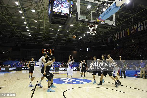 The 2014 FIBA World basketball championships group B match between Puerto Rico and Argentina is played at the Palacio Municipal de Deportes in...