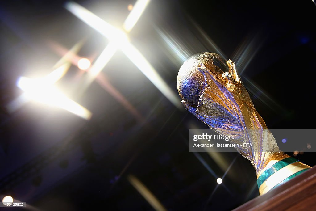 The 2014 FIFA World Cup Winner's Trophy is displayed during 64th FIFA Congress at TEC on June 11, 2014 in Sao Paulo, Brazil.