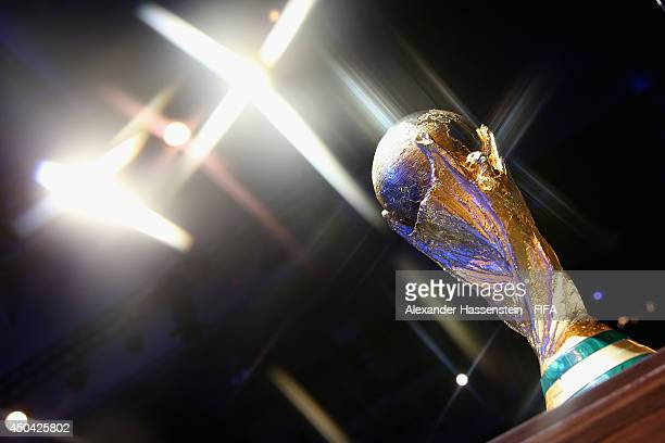 The 2014 FIFA World Cup Winner's Trophy is displayed during 64th FIFA Congress at TEC on June 11 2014 in Sao Paulo Brazil