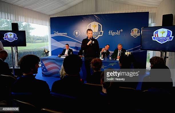 The 2014 Junior Ryder Cup team Captain of Europe Stuart Wilson during a press conference at Disneyland Resort Paris on September 18 2014 in Paris...