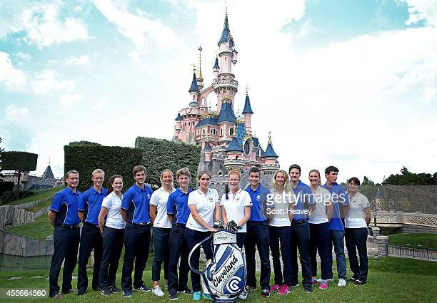 The 2014 Junior Ryder Cup team L to R Captain of Europe Stuart Wilson Marcus Kinhult of Sweden Annabel Dimmock of England Bradley Neil of Scotland...