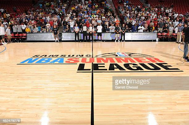 The 2014 NBA Summer League logo is shown before the game between the Charlotte Hornets and the Houston Rockets at the Samsung NBA Summer League 2014...