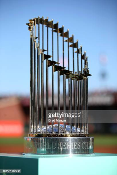 The 2014 San Francisco Giants World Series trophy sits on the field during the San Francisco Giants 2014 World Series Ring ceremony before the game...