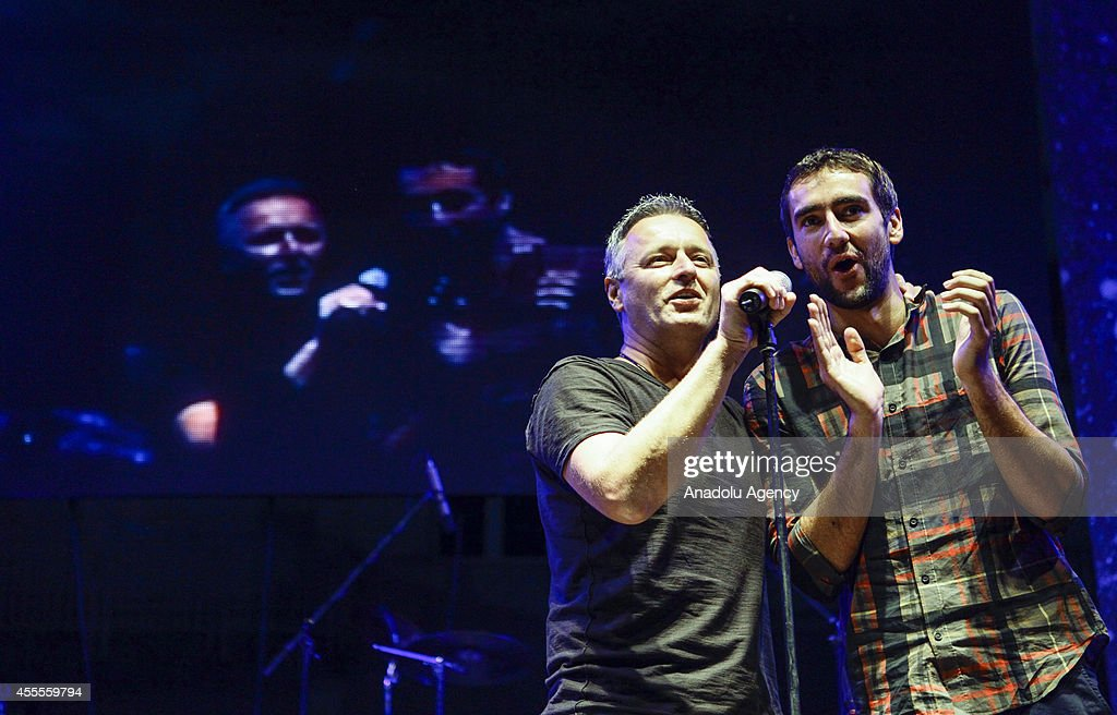 The 2014 US Open Men's Singles champion Marin Cilic of Croatia (R), who was born in Medjugorje, attends a concert with Croation singers within his US Open victory celebrations at his hometown on September 16, 2014 in Medjugorje, Bosnia and Herzegovina.