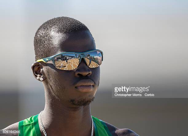The 2014 USA Track and Field Championships in Sacramento: Men's 800 meter, 1st round- Charles Jock with the track reflected in his glasses.