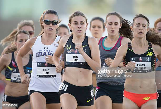 The 2014 USA Track and Field Championships in Sacramento Women's 1500 meters Mary Cain and Jennifer Simpson lead the pack
