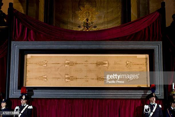 The 2015 Exposition of the Shroud of Turin begins in the Turin Cathedral Italy The Shroud of Turin is a linen cloth with the image of a man It is...