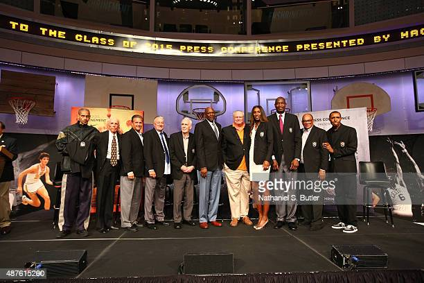 The 2015 Hall of Fame Class poses during the Class of 2015 Press Event as part of the 2015 Basketball Hall of Fame Enshrinement Ceremony on September...