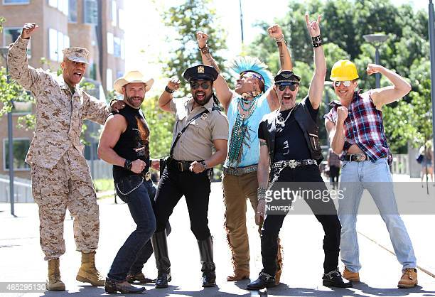 The 2015 lineup of American disco group Village People Alex Briley Jim Newman Ray Simpson Felipe Rose Eric Anzalone and Bill Whitefield pose during a...