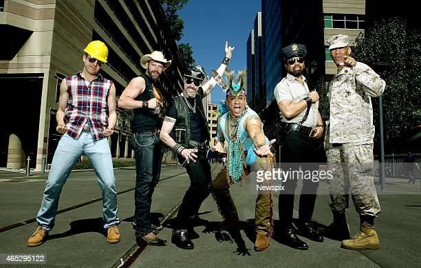 The 2015 lineup of American disco group Village People Bill Whitefield Jim Newman Eric Anzalone Felipe Rose Ray Simpson and Alex Briley pose during a...
