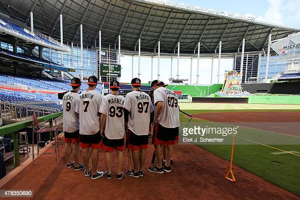 The 2015 NHL Top Draft Prospects on the Media Tour at Marlins Park on June 24 2015 in Miami Florida
