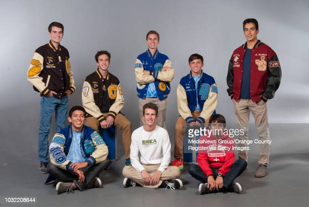 The 2015 OC Register AllCounty boys cross country team back row from left Dylan Scarsone Canyon Chance Lamberth Canyon Mason Coppi Dana Hills Jack...