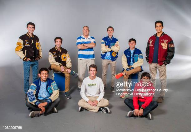 The 2015 OC Register AllCounty boys cross country team back row from left Dylan Scarsone Canyon Chance Lamberth Canyon Coach of the Year Tim Butler...