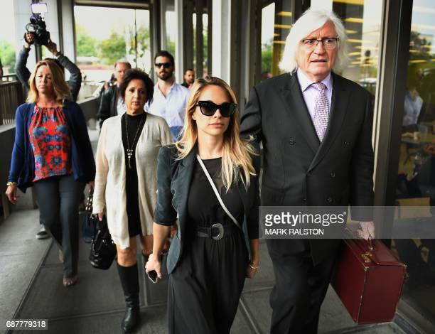 The 2015 Playboy Playmate of the Year Dani Mathers arrives at the Criminal Courts Building for her pretrial hearing with her attorney Tom Mesereau...