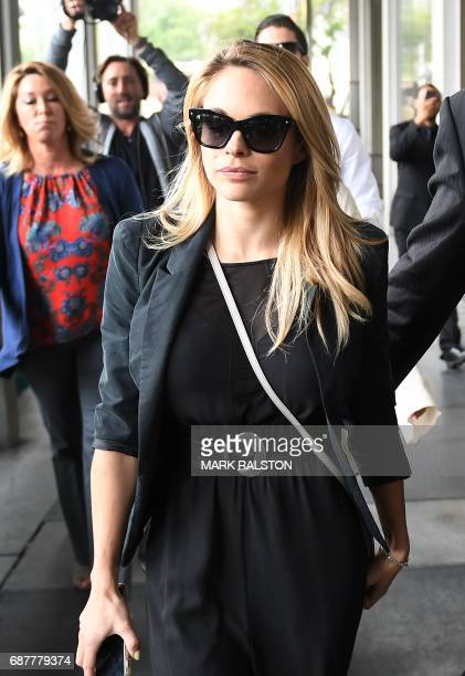 The 2015 Playboy Playmate of the Year Dani Mathers arrives at the Criminal Courts Building for her pretrial hearing during her body shaming case in...