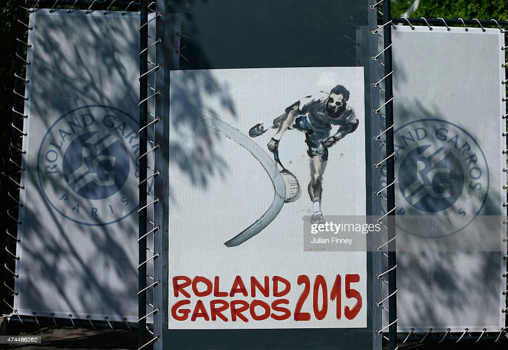 The 2015 Roland Garros poster design is seen ahead of the 2015 French Open at Roland Garros on May 23, 2015 in Paris, France.