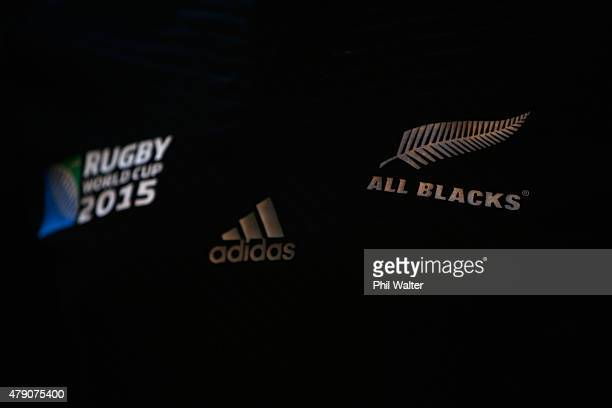 The 2015 Rugby World Cup jersey is pictured during the New Zealand All Blacks Rugby World Cup jersey launch at The Northern Club on July 1 2015 in...