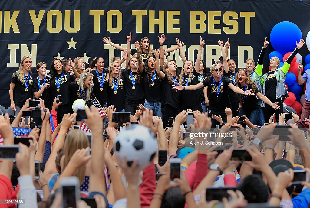 The 2015 United States Women's National Soccer Team celebrates after winning the FIFA Women's World Cup at a free, public championship celebration at L.A. Live's Microsoft Square in Los Angeles, Calif., on July 7, 2015.