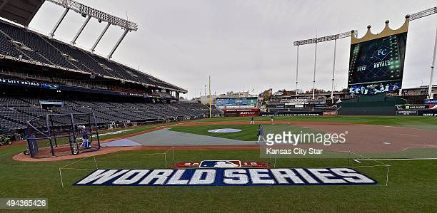 The 2015 World Series logo before the World Series workout for the Kansas City Royals and New York Mets on Monday Oct 26 at Kauffman Stadium in...
