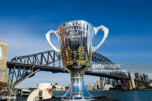 The 2016 AFL Premiership Cup is pictured during an AFL Finals launch at Sydney Opera House on August 30 2016 in Sydney Australia