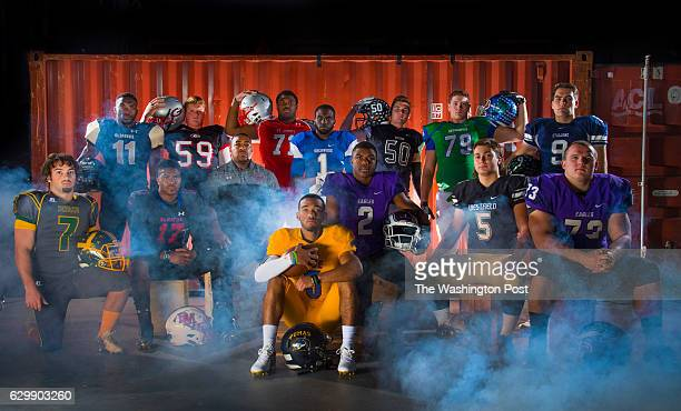 The 2016 All Met Offense Football Team Back row Daniel George Oxon Hill Dakota Davis Glenelg Calvin Ashley St Johns Travis Levy Sherwood Tommy Christ...
