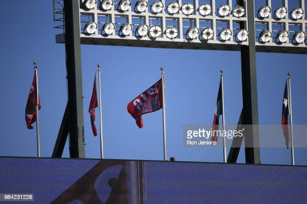 The 2016 American League West Division Championship banner is raised before the Cleveland Indians play the Texas Rangers on Opening Day at Globe Life...