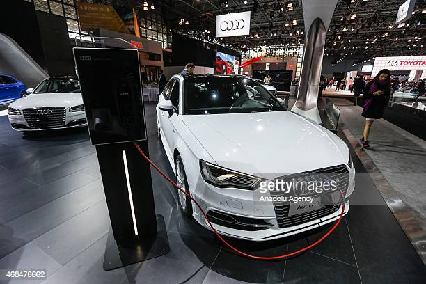 The 2016 Audi A3 eTron hybrid is displayed during the New York International Auto Show on April 2 2015 in New York City