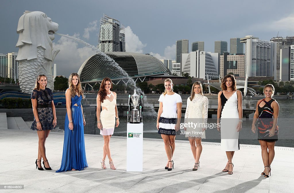 The 2016 BNP Paribas WTA Finals Singapore presented by SC Global returns to Singapore for the third consecutive year with the top women competing for $7 million in prize money from October 23 to October 30. This year's singles field poses with the Billie Jean King Trophy at Merlion Park overlooking Marina Bay in Singapore. Left to Right: Madison Keys (USA), Karolina Pliskova (CZE), Agnieszka Radwanska (POL), Angelique Kerber (GER), Simona Halep (ROU), Garbine Muguruza (ESP), Dominika Cibulkova. The last remaining spot for the final qualifier is yet to be determined.
