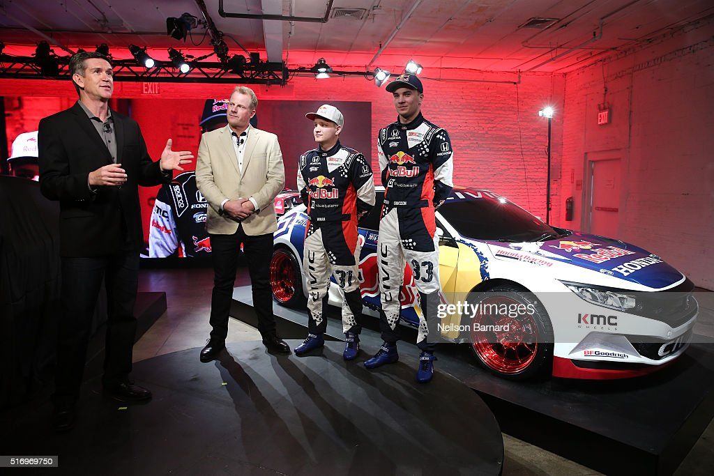 The 2016 Civic Red Bull Global Rallycross racecar on display at the 2016 Honda Civic Tour Artists Announcement and Honda Civic North America Launch Event at the Garage on March 22, 2016 in New York City.