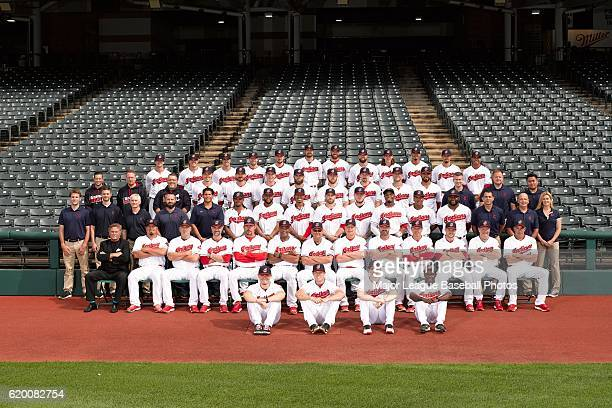 The 2016 Cleveland Indians pose for their team photo on August 30 2016 at Progressive Field in Cleveland Ohio