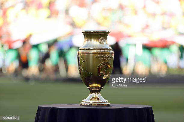 The 2016 Copa America Centenario trophy sits on the field before the United States and Colombia at Levi's Stadium on June 3 2016 in Santa Clara...