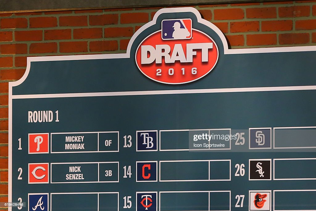 The 2016 Draft Board with Mickey Moniak the first overall pick to the Philadelphia Phillies and Nick Senzel the second overall pick to the Cincinnati Reds during Round 1 of the 2016 MLB First Year Player Draft. The draft is held at Studio 42 of MLB Network in Secaucus NJ.