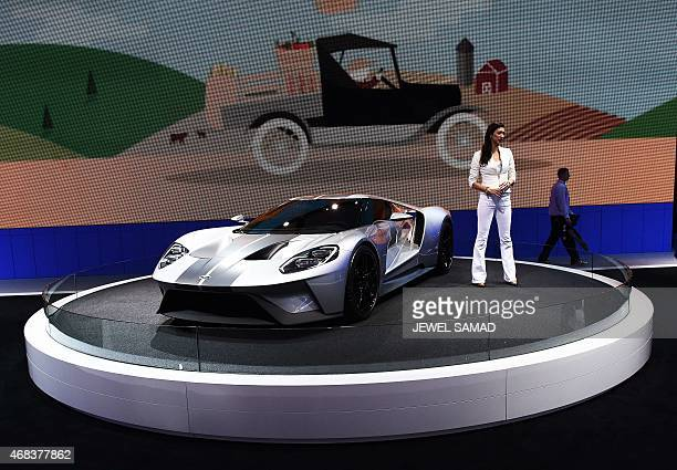 The 2016 Ford GT is displayed during the press preview of the 2015 New York International Auto Show at the Jacob Javits Center in New York on April...