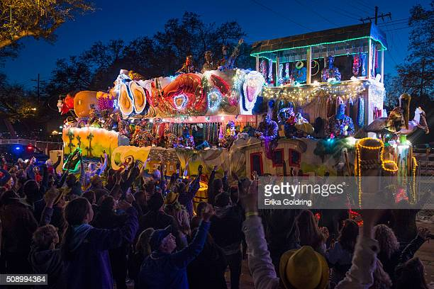 The 2016 Krewe Of Bacchus parade takes place along the traditional Uptown parade route on February 7 2016 in New Orleans Louisiana