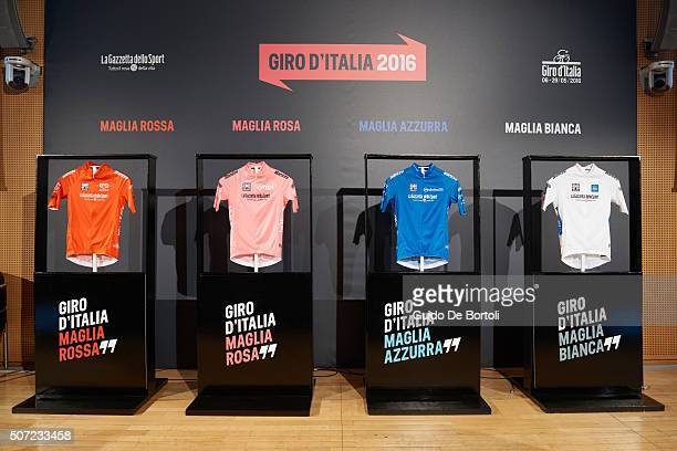 The 2016 Maglia Rossa, Maglia Rosa, Maglia Azzurra, Maglia Bianca jerseys are pictured during the Giro D'Italia 2016 jersey unveiling on at Sala...