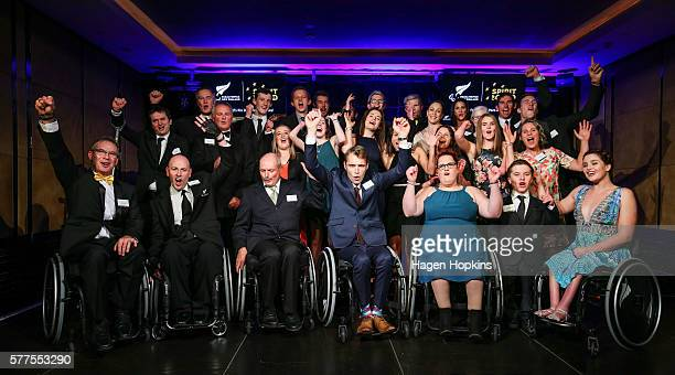 The 2016 New Zealand Paralympic Games team celebrate during the 2016 New Zealand Paralympic Games team presentation at Sky City on July 19 2016 in...