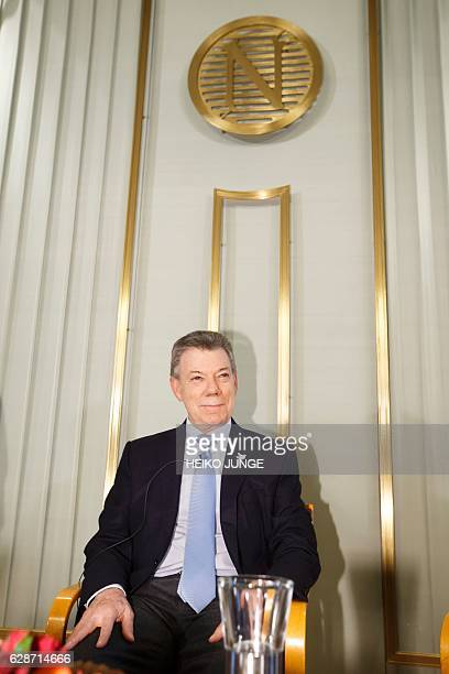 The 2016 Nobel Peace prize laureate Colombian President Juan Manuel Santos speaks during a press conference in the Norwegian Nobel Institute in Oslo...