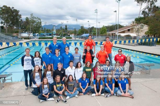 The 2016 OC Register AllCounty Swim team Front row from left Crean Lutheran's Elise Garcia Crean Lutheran's Rachel Taylor Capistrano ValleyÕs Cami...