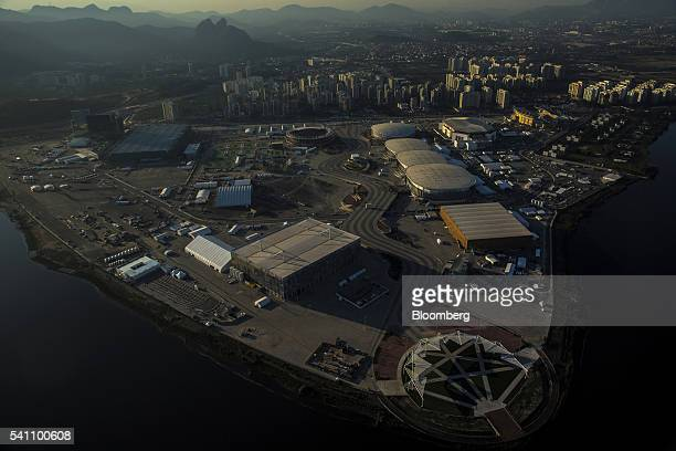 The 2016 Summer Olympics park is seen under construction in this aerial photograph taken above the Barra da Tijuca area of Rio de Janeiro Brazil on...