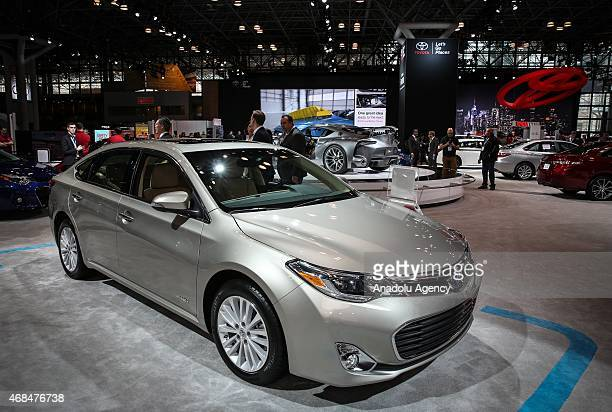The 2016 Toyota Avalon Hybrid is displayed during the New York International Auto Show on April 2 2015 in New York City