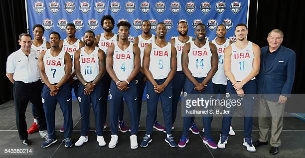 The 2016 USA Men's Senior National Basketball Team poses for a picture during a press conference at Dunleavy Milbank Center on June 27 2016 in New...