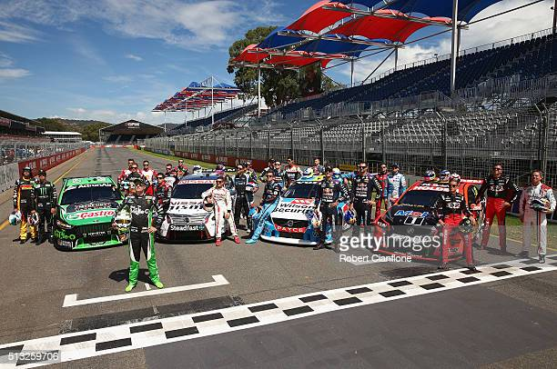 The 2016 V8 Supercar drivers are seen during filming of a television commercial ahead of the V8 Supercars Clipsal 500 at Adelaide Street Circuit on...