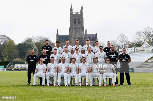 The 2016 Worcestershire Cricket squad pictured at New Road on April 8 2016 in Worcester England